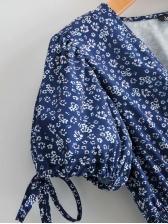 Elastic Waist Blue Floral Short Sleeve Midi Dress