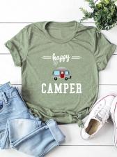 Casual Cartoon Car Plus Size T Shirt Printing