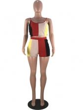 Contrast Color Spaghetti Strap Two Piece Shorts Set