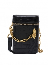 Alligator Print Chain Patchwork Small Bucket Bags