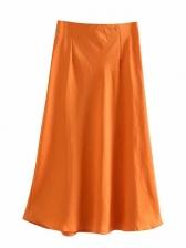 Solid Satin Women a Line Skirt