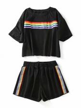 Leisure Rainbow Pattern Two Piece Short Set