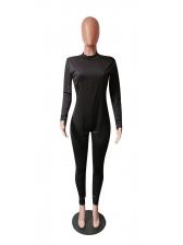 Contrast Color Long Sleeve Skinny Jumpsuit