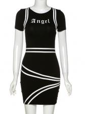 Contrast Color Striped Bodycon Black Dress