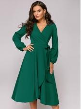 Lantern Sleeve Large Hem Long Sleeve Wrap Dress