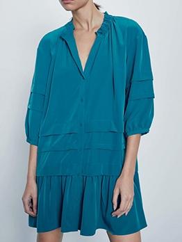 Single-Breasted Multi-Layer Ruffled Hem Short Dress