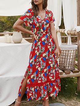 Botanic Printed v Neck Maxi Dress With Sleeves