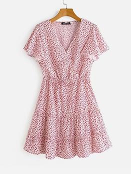 Sweet Style Elastic Waist Short Sleeve Floral Dress