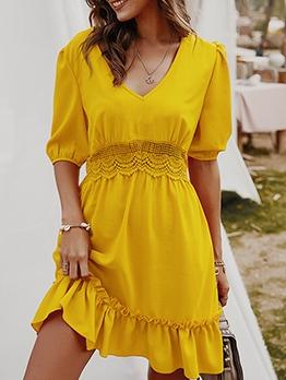 V Neck Solid Stringy Selvedge Half Sleeve Dresses