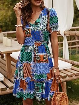 Casual Color Block Printed Short Sleeve Summer Dresses