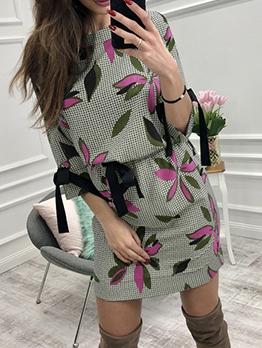 Chiffon Slim Fit Printed Long Sleeve Dress