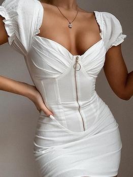 Euro Front Zip Up White Short Sleeve Dress