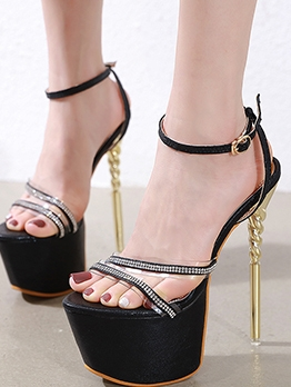 Fashion Rhinestone Decor Stiletto Heel Platform Sandals