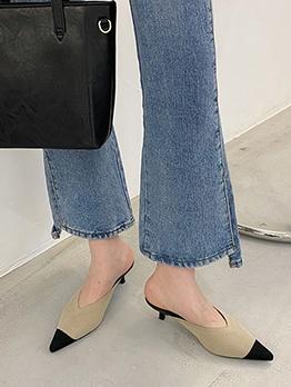 Fashion Kitten Heel Pointed Toe Slip On Slippers