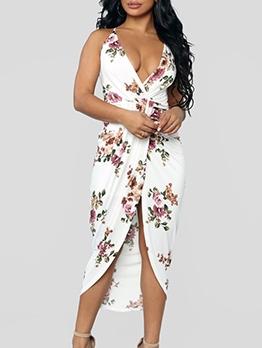 Deep v Flower Pattern Sleeveless Midi Dress