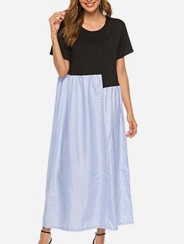 Contrast Color Loose Short Sleeve T-Shirt Maxi Dress