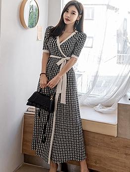 Deep V Neck Print Tie-Wrap Maxi Dress For Work