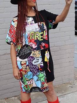 Colorful Funny Cartoon Print Loose Tee Dress