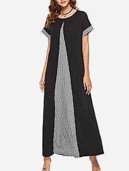 Color Patchwork Plaid Loose Short Sleeve Maxi Dresses