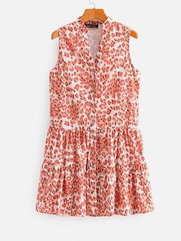 Single Breasted Leopard Print Sleeveless Summer Dresses