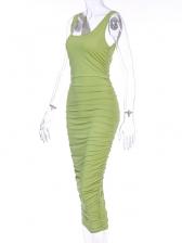 Euro Square Neck Pure Color Sleeveless Sheath Dress