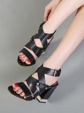 Roman Chunky Heel Faux Pearl Decor Ladies Sandal
