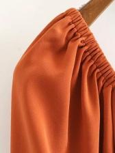 Lantern Sleeve Orange Half Sleeve A-Line Dress
