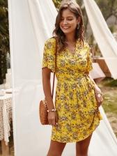 V Neck Floral Short Sleeve Summer Dresses
