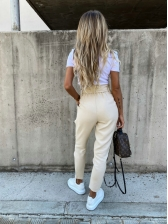 Solid Bow Belt High Waisted Pants