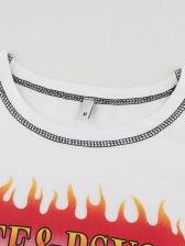 Letter Flame Print Short Sleeve Crop T-shirt