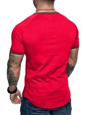 Casual Contrast Color Short Sleeve Men t Shirt