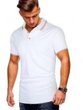 Leisure Solid Striped Hem Short Sleeve Polo Shirts