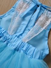 Large Hem Fluffy Gauze Sleeveless Girls Party Dresses