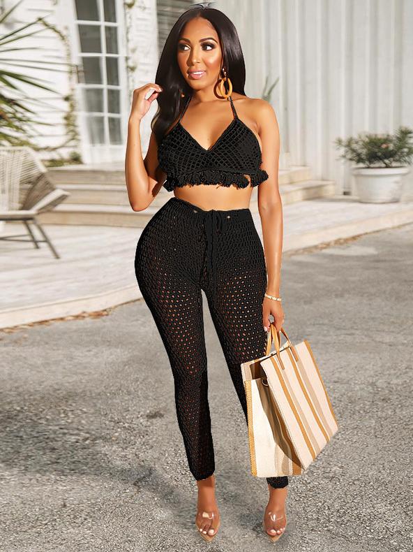 Sexy Mesh Tassel Crop Top And Pants Set