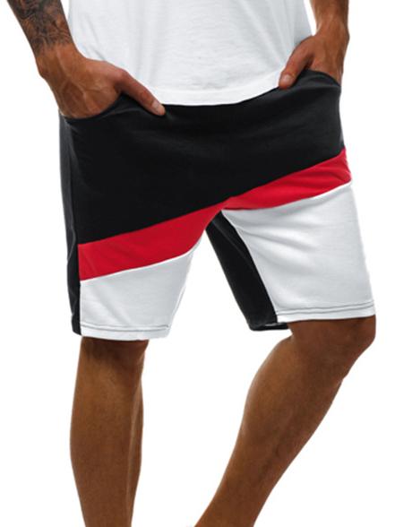 Leisure Contrast Color Drawstring Half Length Sweatpants