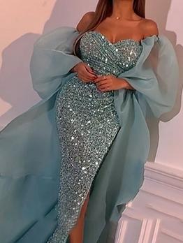 Gauze Patchwork Glitter Sequins Off Shoulder Prom Dresses