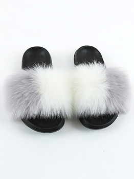 Cute Faux Fur Patchwork Women Fluffy Slippers