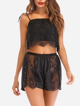 Spaghetti Strap Lace Crop Top And Shorts Pajamas Set