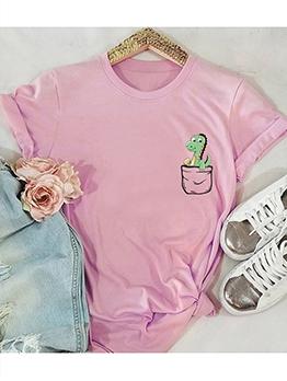 Simple Style Dinosaur Printing Oversized T Shirt
