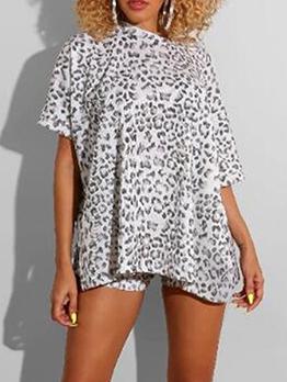 Leopard Print High Waist Two Piece Outfits
