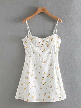 Slim Fit Flower Print Mini Camisole Ladies Dress
