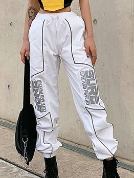 Trendy Letter Print Reflective Cargo Pants