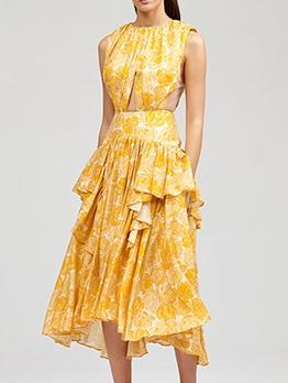 Boutique Ruffled Cutout Sleeveless Midi Dress