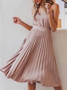 Elegant Solid Pleated Camisole Midi Dress