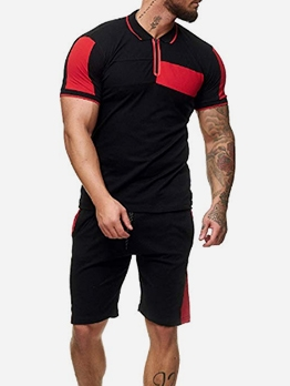 Fashion Sporty Contrast Color Men's Athletic Wear