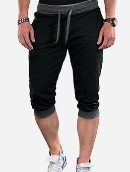 Casual Contrast Color Drawstring Mens Three Quarter Pants