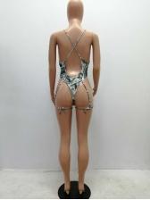 Trendy Printing Deep V Neck Sexy One Piece Swimsuit