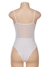 Sexy Low-Cut Gauze Patchwork Sleeveless Bodysuit