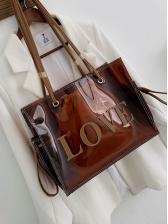 Transparent PVC Large Capacity 2 Piece Shoulder Bags