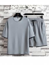 Casual Solid Crew Neck Men Activewear Sale